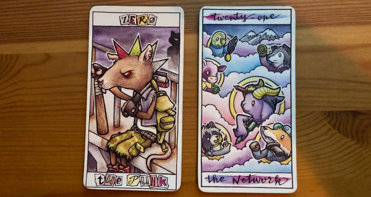 Two cards from the Major Arcana — Zero is the Punk, which replaces the traditional Fool, and Twenty One is The Network, replacing the traditional The World.